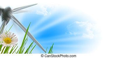 wind turbine, sun and flower