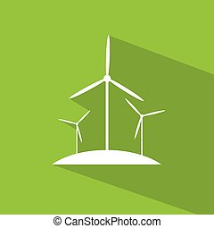 wind turbine tower energy recycle technology flat design vector