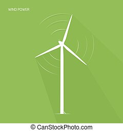 Wind turbine tower green energy logo icon