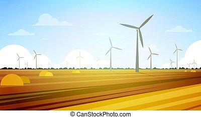 Wind Turbine Tower In Field Blue Sky Alternative Energy Source Technology