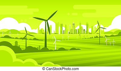 Wind Turbine Tower In Field Green City Background Ecology...