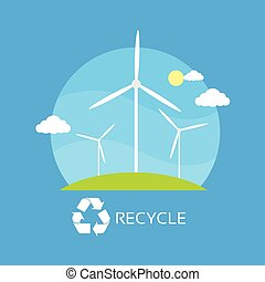 wind turbine tower over blue sky and green grass energy recycle technology flat design vector illustration