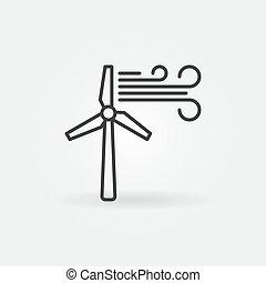 Wind Turbine vector icon - wind energy outline symbol