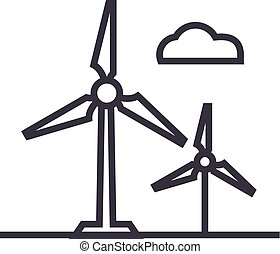 wind turbine vector line icon, sign, illustration on background, editable strokes