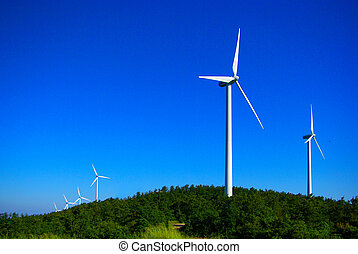 Wind turbine - wind turbine in the blue and green