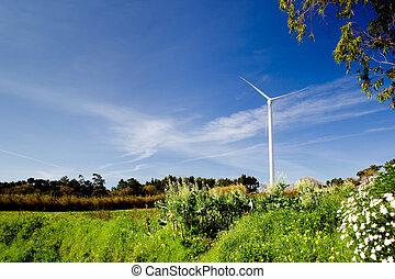 Wind Turbine - Wind turbine on a beautiful green meadow,...