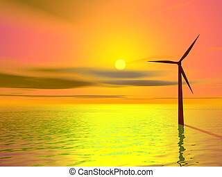 wind turbine - Wind turbine silhouetted against colourful...