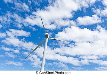 Wind turbine with blue sky