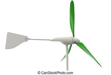 wind turbine with green blades