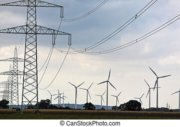 Wind turbine with power poles for alternative energy electricity