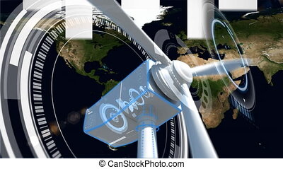 Wind turbine with proppelers turning while there is map on background
