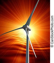 wind turbine with sunset on an orange background