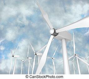Wind Turbines - Alternative Energy - Several wind turbines...