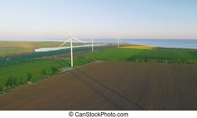 Wind turbines and agricultural fields - Energy Production...