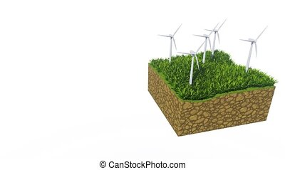 Wind turbines and grass on white with copy space