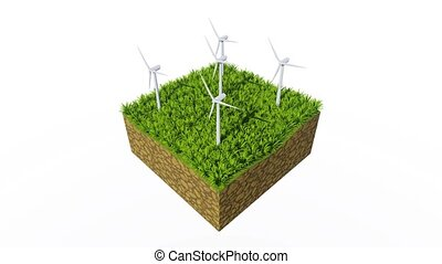 Wind turbines and green grass on white background