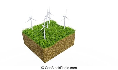 Wind turbines and green grass with copy space 3D