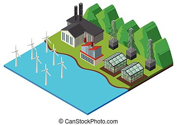Wind turbines and greenhouse in the field illustration