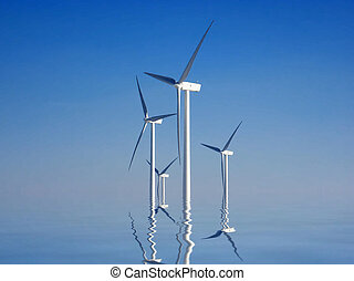 wind turbines and reflection in the water