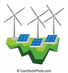 Wind turbines and solar power plants. Clean energy...