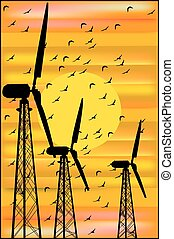 wind turbines at sunset and a flock of birds