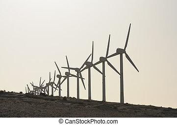 Wind turbines at sunset. Canary island Fuerteventura, Spain