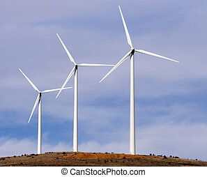 wind turbines - Beautiful view of three aerogenerators