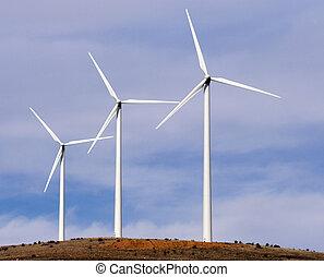 wind turbines - Beautiful view of three aerogenerators