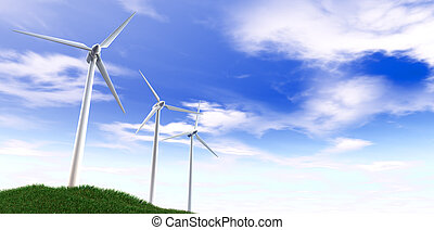 Wind Turbines Blue Sky And Grass Hill