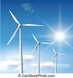 wind turbines - Wind turbines over blue sky with sun, vector...
