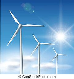 wind turbines - Wind turbines over blue sky with sun, vector...