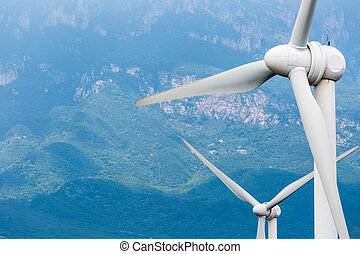 wind turbines closeup