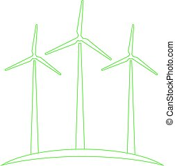 Wind turbines concept of ecological energy production.