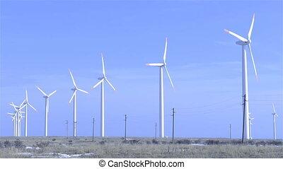 Wind Turbines electricity - Wind Turbines generating...