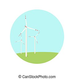 Wind turbines energy farm color blue green icon