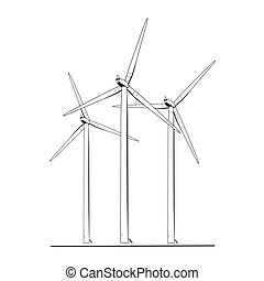 Wind turbines energy farm isolated black white - Wind...