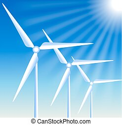 Wind turbines on the blue sky background and sun