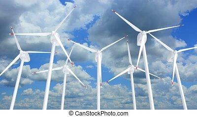 Wind turbines farm against the blue sky 3D animation