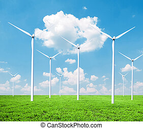 Wind turbines farm - Green energy concept