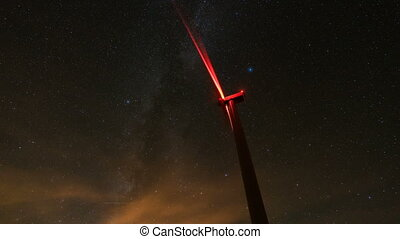 wind turbines generating clean power with milky way, time...