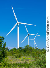 Wind turbines generating electricity. Nature protection concept