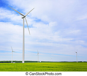 Wind turbines generating electricity. - Wind power energy. ...