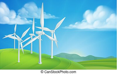 Wind Turbines Generating Energy