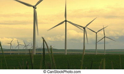 Wind turbines generating power