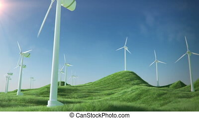 wind turbines green energy loop - Flying on grass field with...