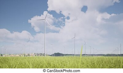 Wind turbines green grass landscape alternative electricity ...