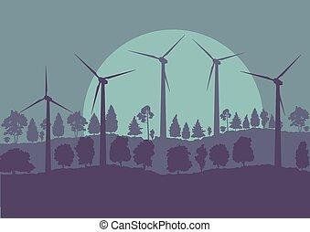 Wind turbines high voltage green energy generator alternative power farm landscape background vector