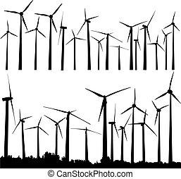 Wind turbines - Vector silhouette of wind generators or wind...