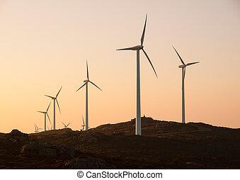 Wind turbines in a landscape