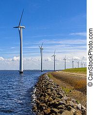 Wind turbines in a long row